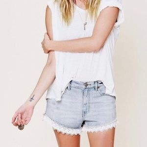 Free People : High-Waist Lace Shorts Size 26